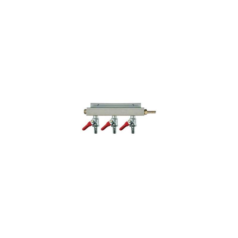 Distribuidor de Aire/CO2 - 3 Valvulas Check 3/8