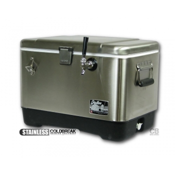Coldbreak Jockey Box 1 tap stainless pass through 54 quart cooler 50-foot coil