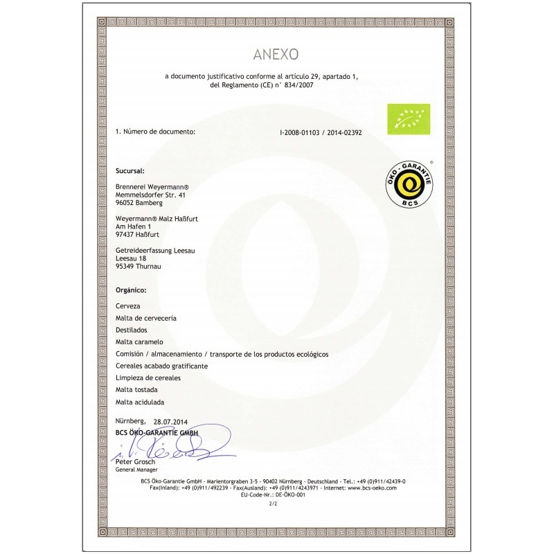 Weyermann® Malta Organica Pale Ale