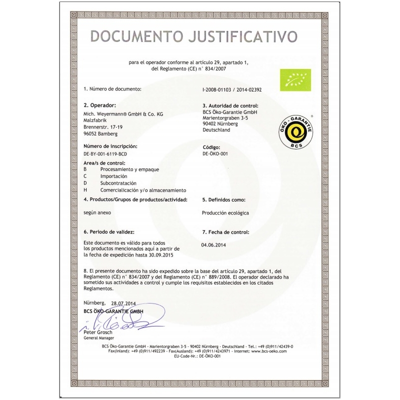 Weyermann® Malta Organica Pale Ale (1 kg)