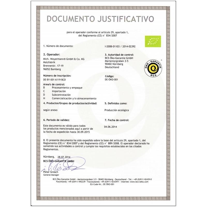 Weyermann® Malta Organica Acidificada pH 3,4 - 3,6 (1 kg)