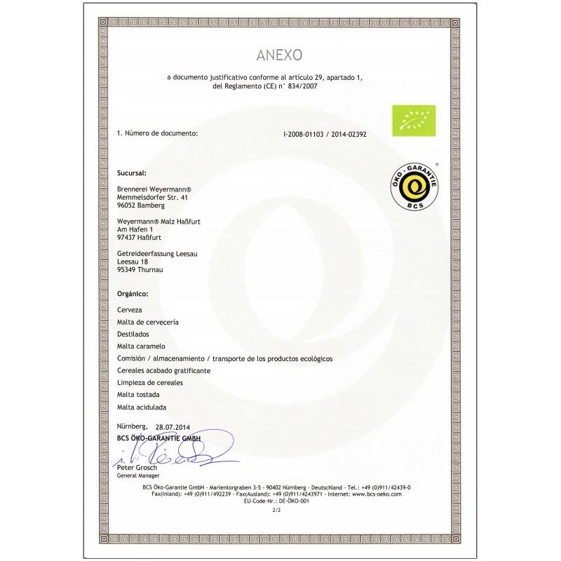 Weyermann® Malta Organica de Trigo - Clara (1 kg)