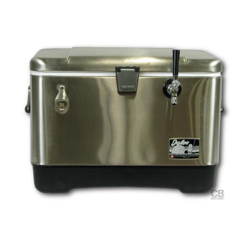Coldbreak Jockey Box 1 tap stainless pass through 54 quart cooler 50-foot coil