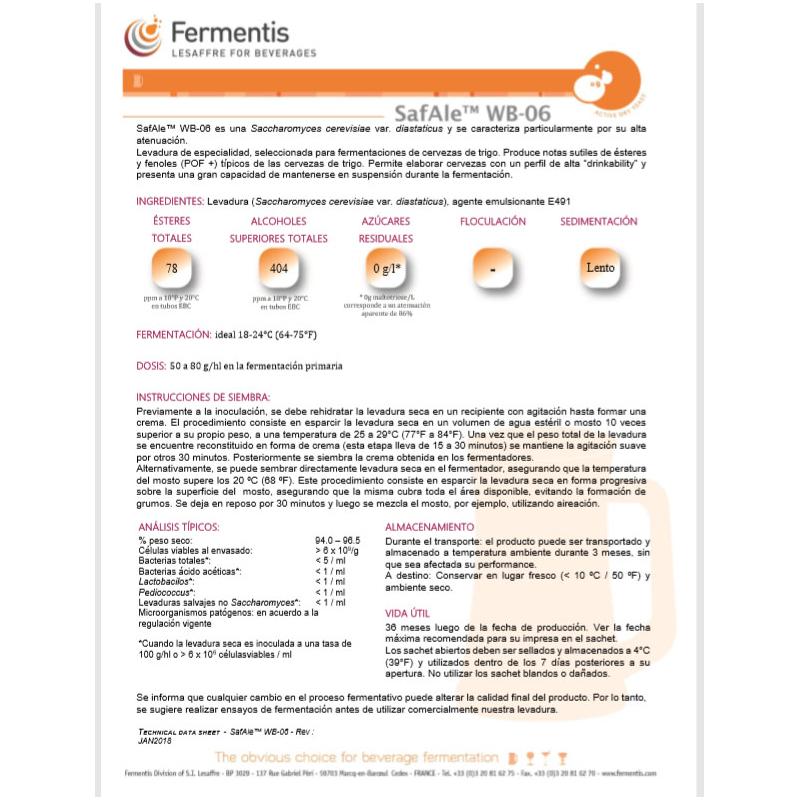 Levadura SafAle (Safbrew) WB-06 - Fermentis  (500 grs)