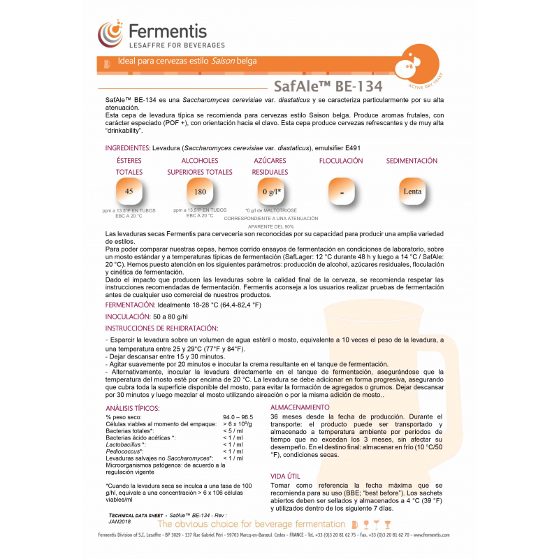 Levadura SafAle BE-134  - Fermentis (11.5 g)